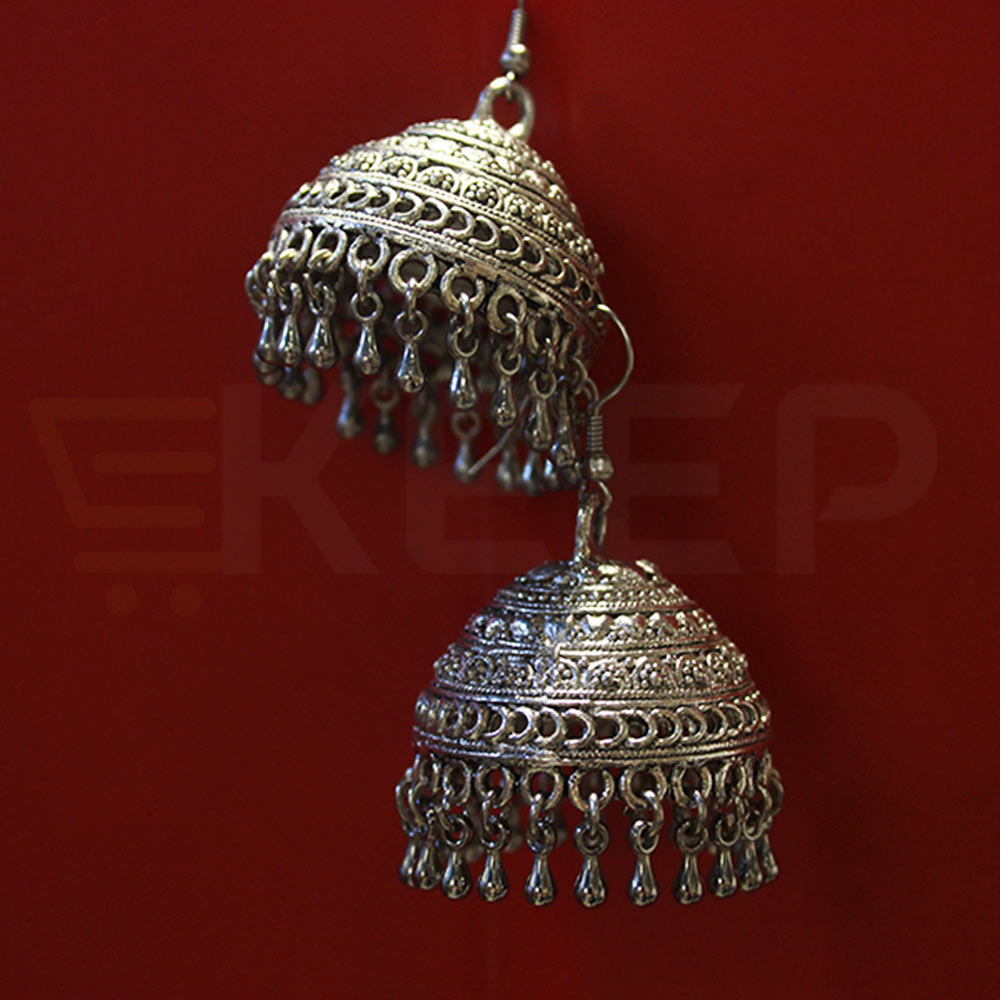 keep-Antique Kashmiri Jhumkas Silver