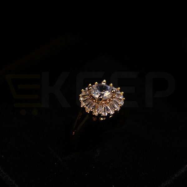 keep-Round Zirconia Ring With Crystal Work
